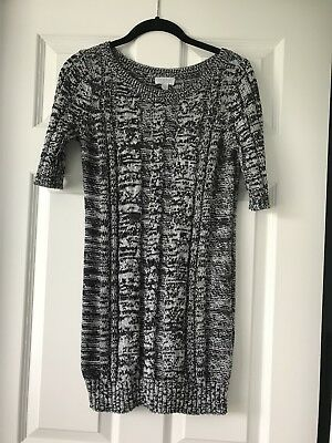 A PEA IN THE POD Maternity Black & White Cable Knit Sweater Size S