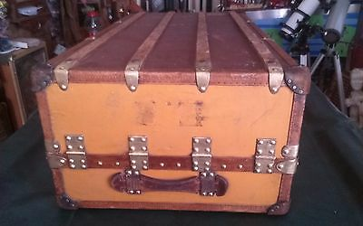 Rare Vintage Antique Orange Louis Vuitton Trunk With Key