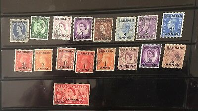 Nice collection  of 17 diff Bahrain Overprinted on British Post stamps 1948-57