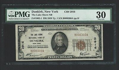 1929 $20 Dunkirk NY National PMG VF 30 – NO RESERVE !