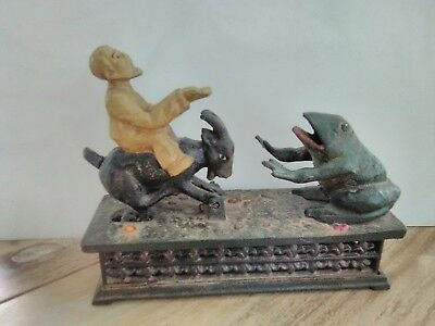 Vintage Hubley Man and Goat Mechanical Bank Cast Iron Early 1900's