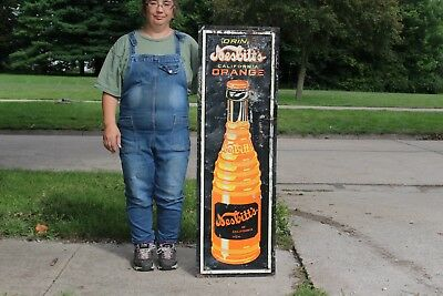 "Large Vintage 1946 Nesbitt's Orange Soda Pop Gas Station 49"" Embossed Metal Sign"