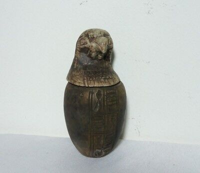 RARE ANTIQUE ANCIENT EGYPTIAN Horus Canopic Jar Egyptian 1900-1100 BC