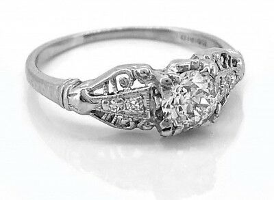 0.45 Ct Vintage Art Deco Round Cut Antique Engagement Ring 925 Sterling Silver