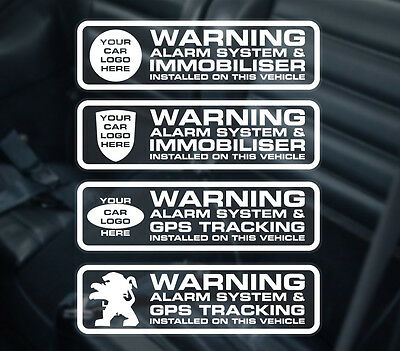 4 X Car alarm sticker - car alarm decal. Immobiliser and GPS fitted stickers.