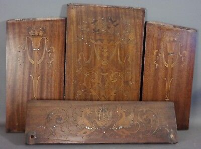 1920's Lot (4) Antique ADAMS MARQUETRY INLAY PHOENIX Architectural Salvage PANEL