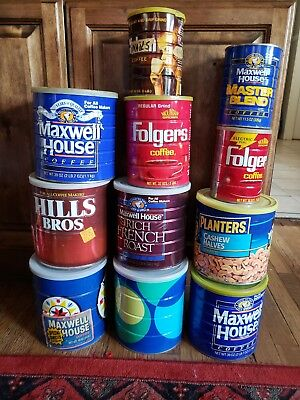 Vintage Coffee Tins Lot Of 11 cans, tins Planters, Folgers, Yuban, Maxwell House