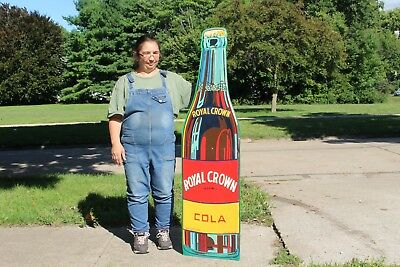 "Large Vintage 1940's RC Royal Crown Cola Soda Pop 59"" Embossed Metal Sign"