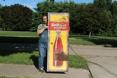 "Rare Large Vintage 1942 Dr Pepper Soda Pop Bottle Gas Station 56"" Metal Sign"