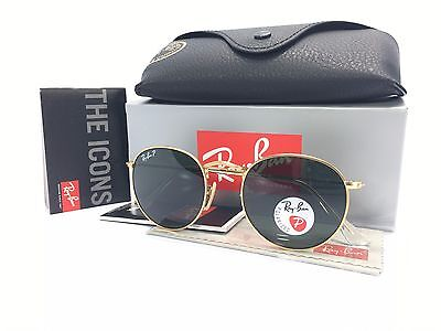 Ray Ban Round RB3447 112/58 Gold Frame Polarized Green Lens 50mm