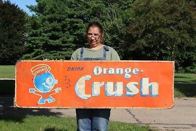 "Rare Vintage 1940's Orange Crush Crushy Soda Pop 57"" Embossed Metal Sign"