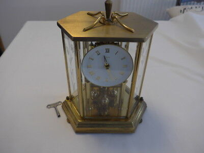 Vintage Kieninger Obergfell mantel clock with KEY for Spares or Repair