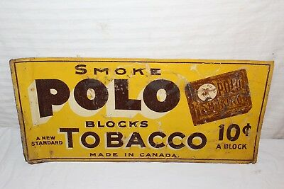 "Rare Vintage c.1910 Polo 10c Smoking Tobacco Gas Oil 20"" Metal Sign"