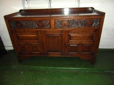 Antique Edwardian Style  Oak Carved Traditional Sideboard