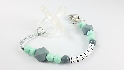 Personalized pacifier clip/ Binky holder/ Baby gift/ Mint and gray