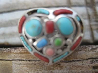 Vintage Old Heart Turquoise Silver Ring Hippie Size 6 3/4