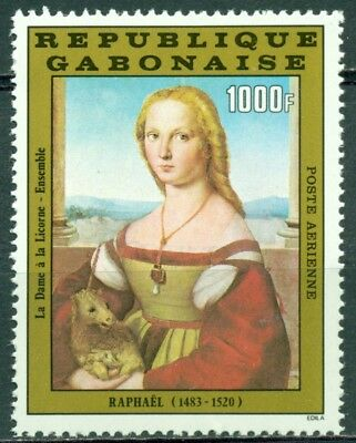 Gabon Scott #C261 MNH Lady with Unicorn Painting Raphael CV$10+