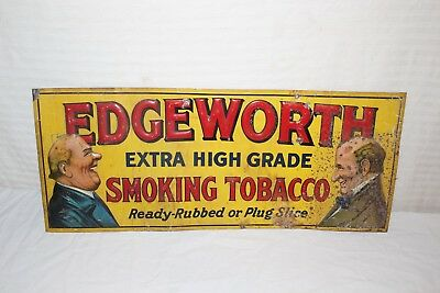 "Rare Vintage c.1930 Edgeworth Smoking Tobacco Gas Oil 27"" Embossed Metal Sign"