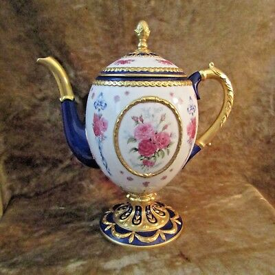House of Faberge 'THE FABERGE EGG IMPERIAL TEAPOT' W/COA/MINT CONDITION!