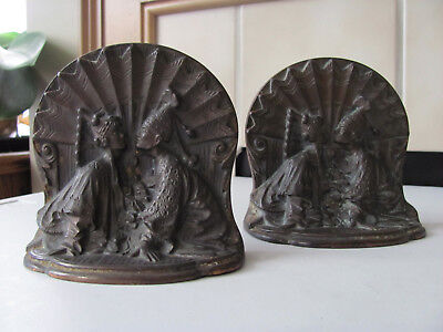 Vintage Antique  Beautiful Heavy Cast Iron Asian Lovers Bookends  Doorstop