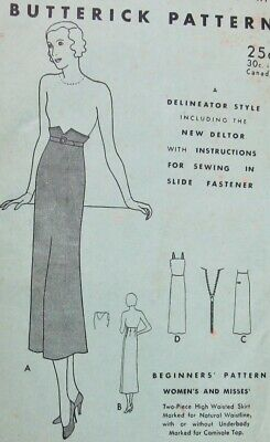 1920's Butterick Delineator Deltor Vintage Sewing Pattern High Waist Skirt 17 ++