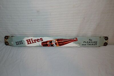 "Vintage 1950's Hires Root Beer Soda Pop 32"" Porcelain Metal Door Push Bar Sign"