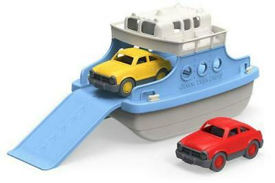 Green Toys Ferry Boat With Mini Cars Bath Tub Toy Kids Toddler Blue White Gift
