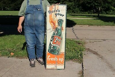 "Rare Vintage 1940's 7Up 7 Up Soda Pop Gas Station 43"" Metal Sign"