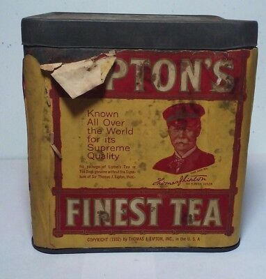 Vintage Lipton's Finest CEYLON Tea Tin With Paper Label and Embossed Lid