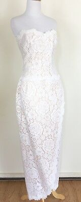 Vintage VICTOR COSTA White Lace Cocktail Wedding Strapless Dress Gown, M