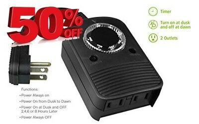 NEW Waterproof Mechanical Outlet Timer Switch with photosensor Free Shipping, US