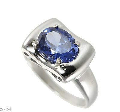 White Gold Finish Large Oval Blue CZ Pedestal Sterling Silver Ring