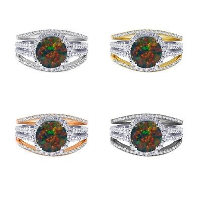 18k Gold Plated Round Black Fire Opal Wedding Engagement Silver Ring Set 2.35 Ct