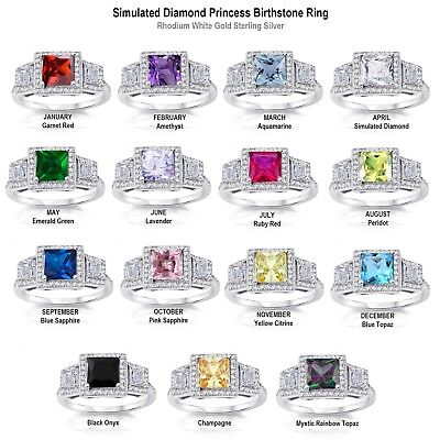 White Gold 3 Stone Princess Simulated Diamond Birthstone Sterling Silver Ring