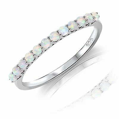 Round White Fire Opal Genuine Sterling Silver Fine Eternity Band Ring