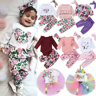 Newborn Kids Baby Girl Unicorn Floral Top Romper Skirt Pants Outfits Clothes Lot