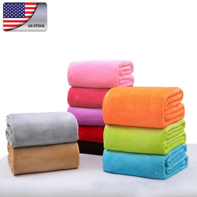 US Super Soft Warm Solid Warm Micro Plush Fleece Blanket Throw Rug Sofa Bedding