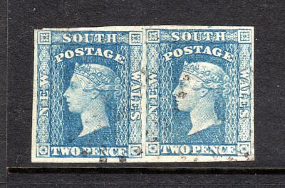 NSW ASC 15; 1856 2d Blue Imperf Pair Small Diadem 4 Margins, Fine Used.