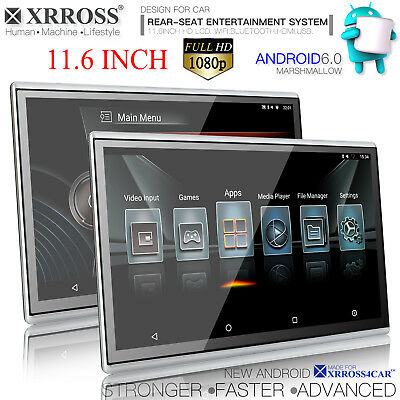 XRROSS 11.6 inch HD1080P Android 6.0 WIFI HDMI Headrest Rear Seat Monitors combo