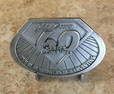 Vintage John Deere Pewter Belt Buckle 60 Series Combines 2003 - Never Used