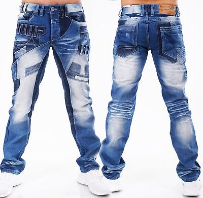 HIGHNESS Herren Jeans Hose Straight Fit Men´s Wear Patches Mega Waschung HN-621A