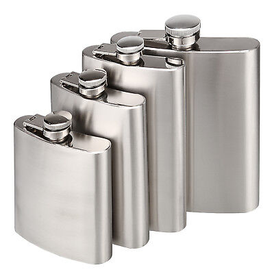 6-18 oz Stainless Steel Pocket Hip Flask Alcohol Whiskey Liquor Screw Cap&Funnel