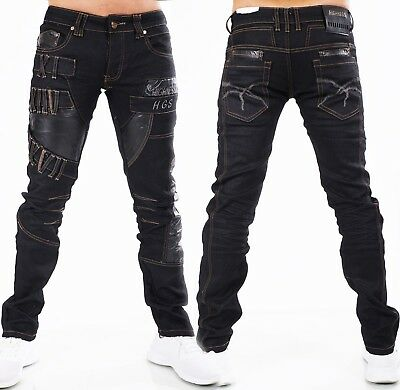 HIGHNESS Herren Jeans Hose Men´s Wear Straight Loose Kunstleder Patches schwarz