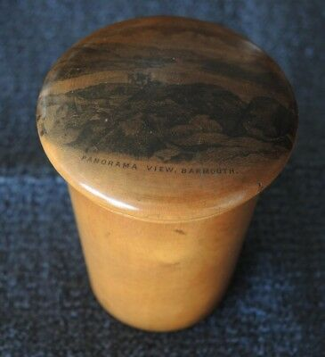 Mauchline Ware Treen Lidded Pot Panorama View Dartmouth #12
