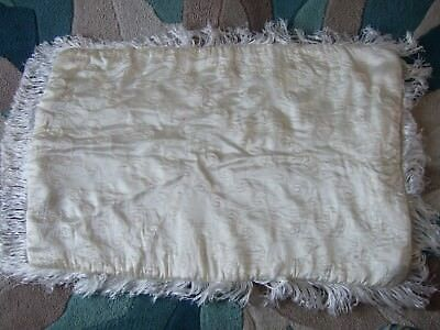 PRAM QUILT VINTAGE SILK WITH FRINGE FROM 1950's Rare