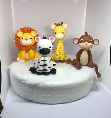 Edible Cake Toppers Jungle Animals  Boy Girl Birthday Baby Shower Decorating