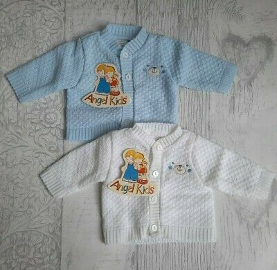 PREMATURE BABY CLOTHING KNITTED CARDIGAN SMALL EARLY PREEMIE WHITE BLUE 3lb-8lb
