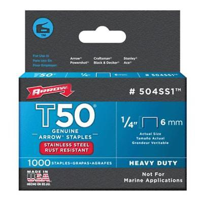 Arrow 504SS1 Stainless Steel T50 Staples, 1/4""