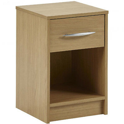1 Drawer Storage Chest / Bedside Table / Nightstand - Oak ZAS003196610