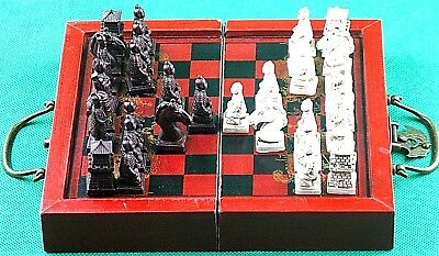 Chess Game Set, Chinese Warriors, Wooden Box, Fold Open to Play the Game, DIY.